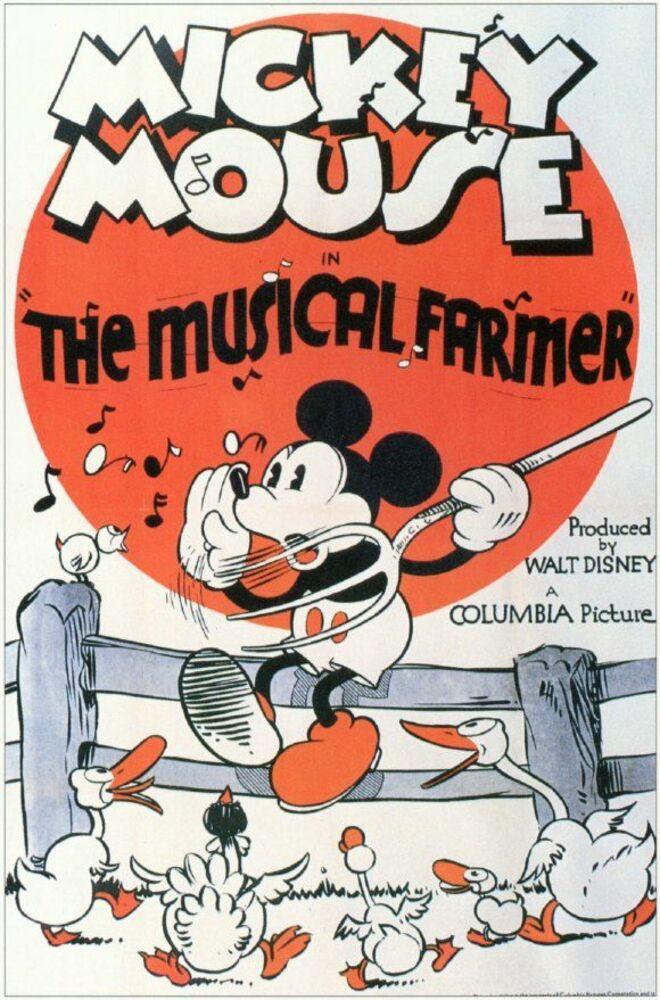 Affiche Poster fermier musicien musical farmer mickey disney