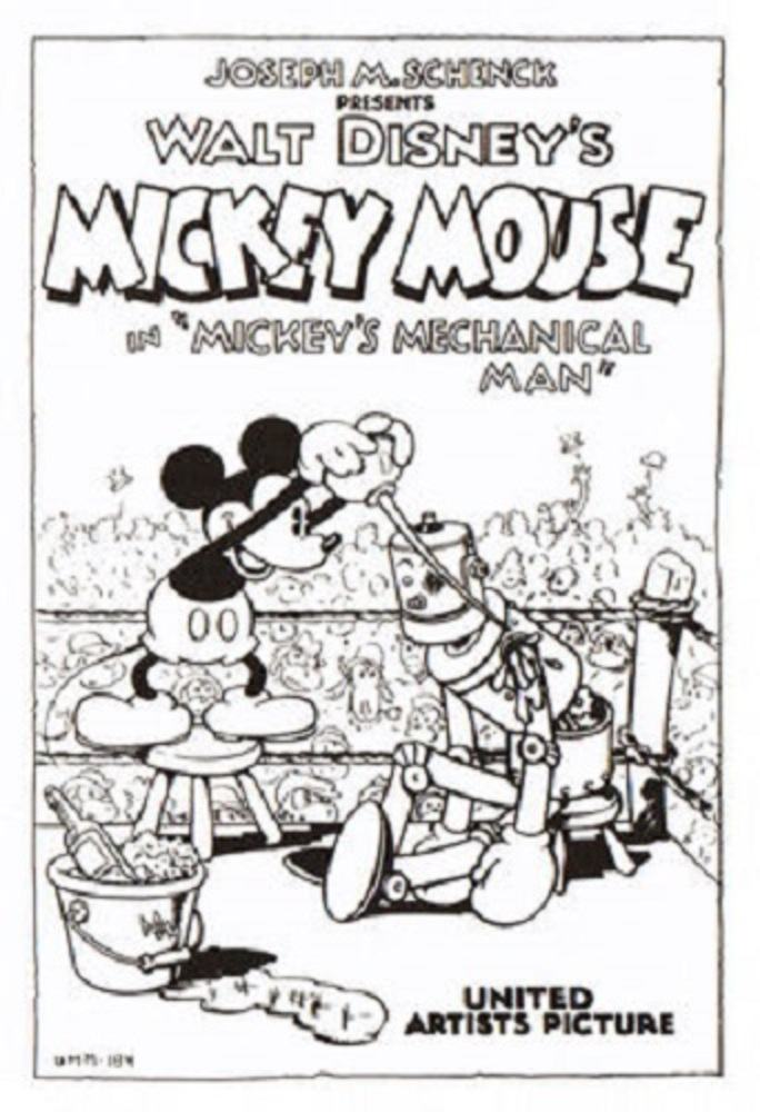Affiche Poster mickey mécano mecanical man disney