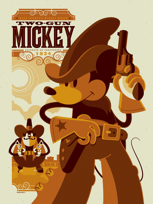 Affiche Poster mickey tireur elite two gun disney