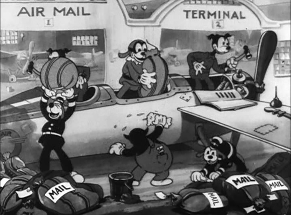 Image mickey postier ciel mail pilot disney