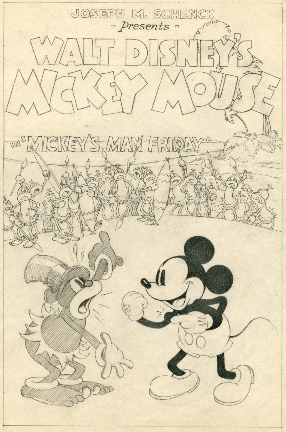 Affiche Poster robinson mickey man friday disney