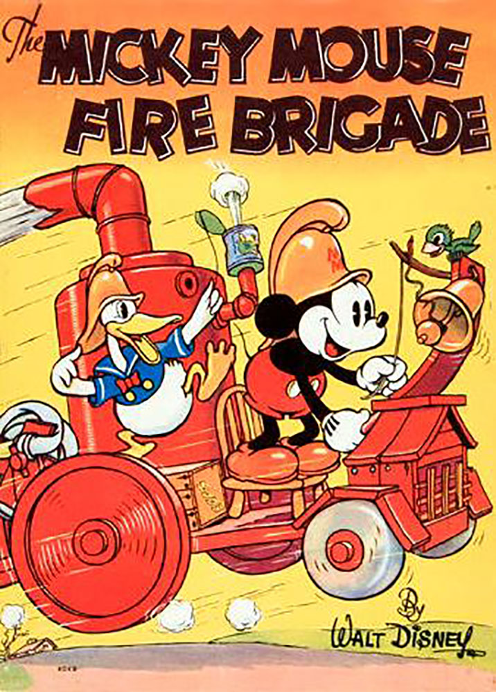 Affiche Poster mickey pompier fire brigade disney