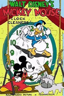 Affiche Poster nettoyeurs pendules clock cleaners mickey