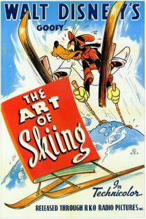 Affiche Poster lecon ski art skiing dingo goofy disney