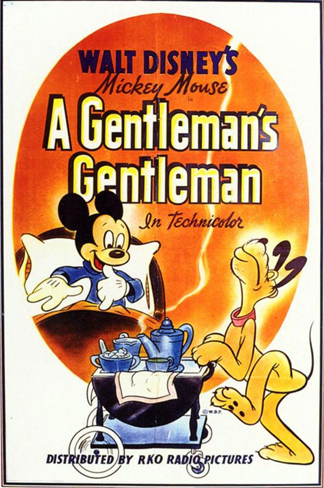 Affiche poster pluto majordome gentleman disney mickey