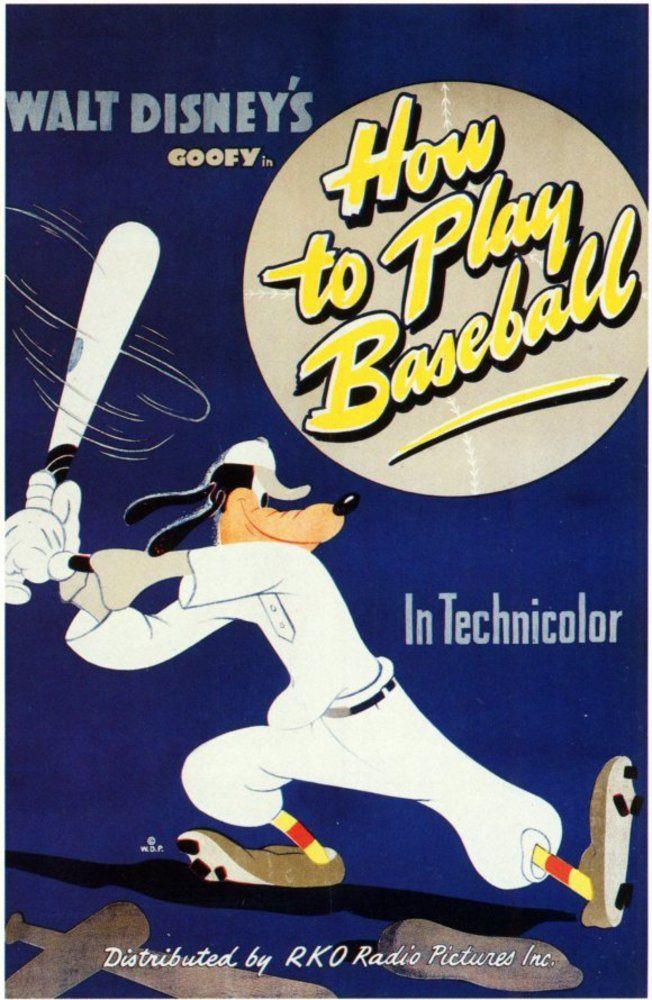 Affiche Poster dingo goofy joue baseball how play disney