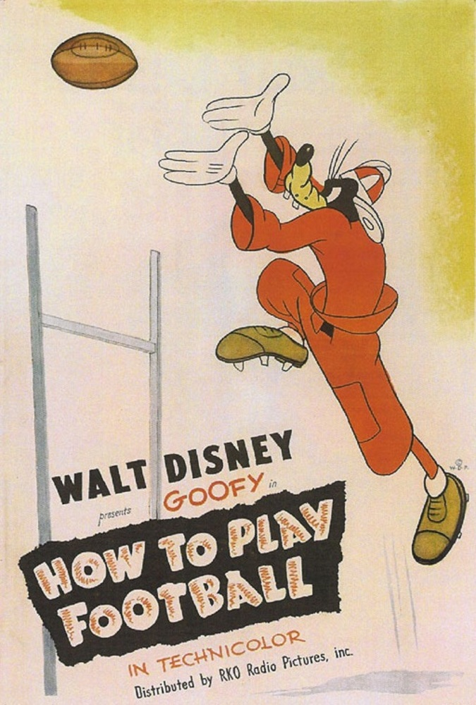 Affiche poster dingo goofy joue how play football disney