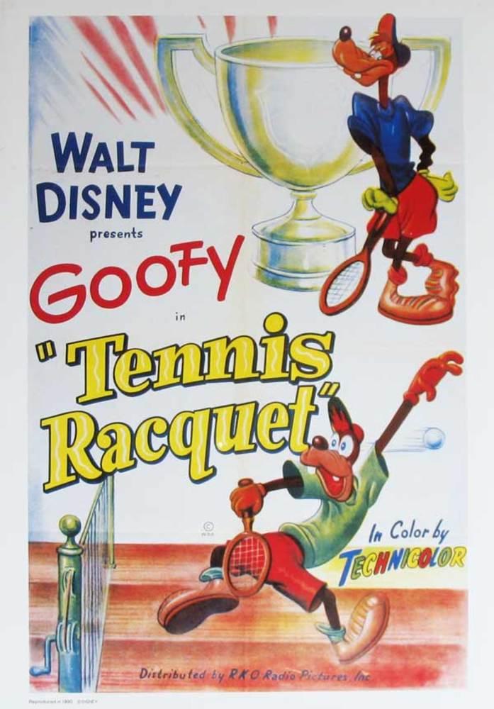 affiche poster dingo joue tennis racquet goofy disney