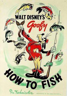 Affiche poster dingo peche goofy how fish disney