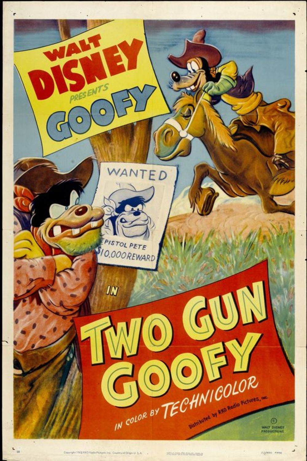 affiche poster dingo cow boy two gun goofy disney