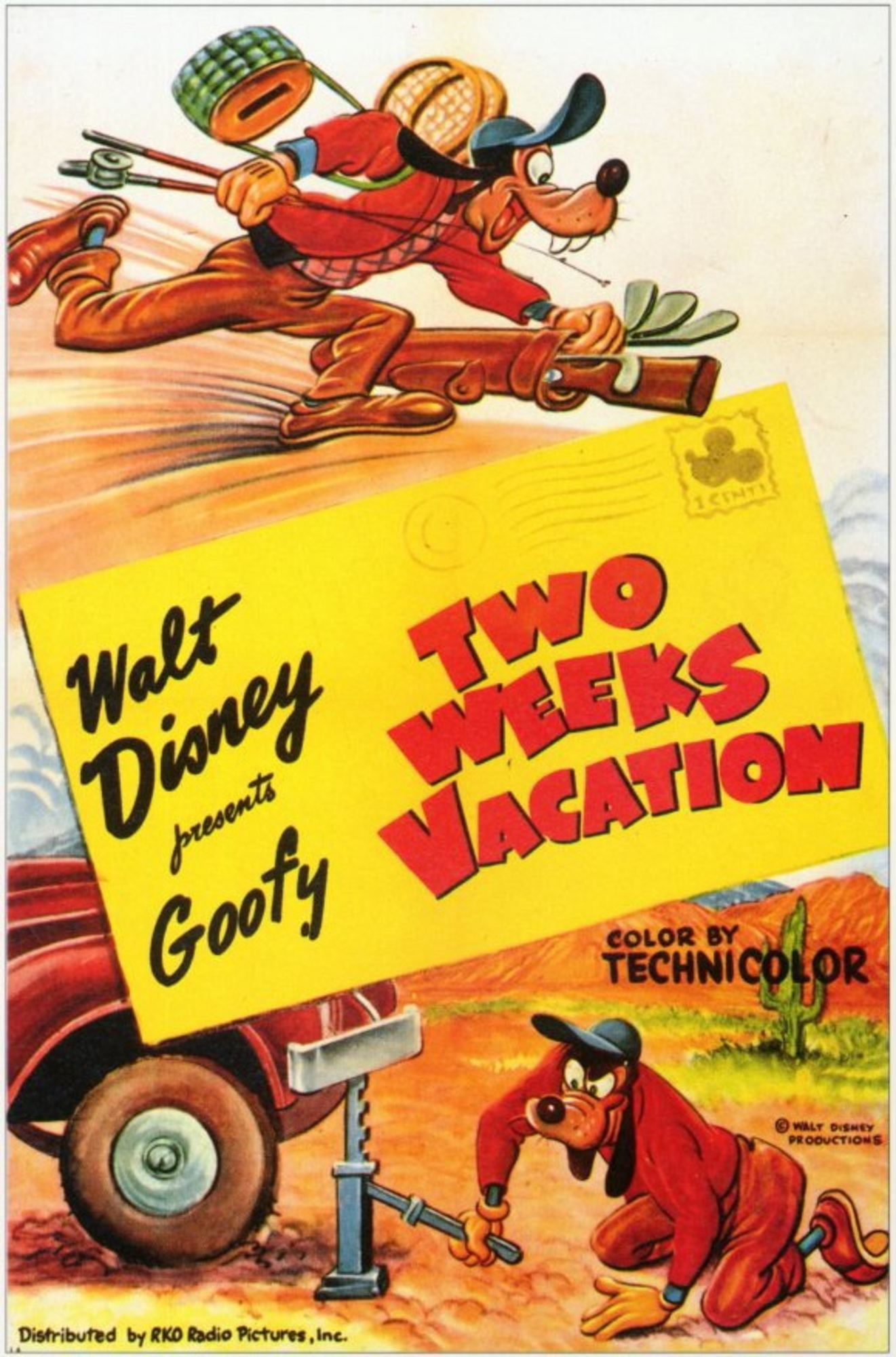 affiche poster dingo vacances two weeks vacation goofy disney