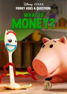 affiche poster fourchette forky question argent money disney pixar