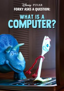 affiche poster fourchette question forky ordinateur computer disney pixar