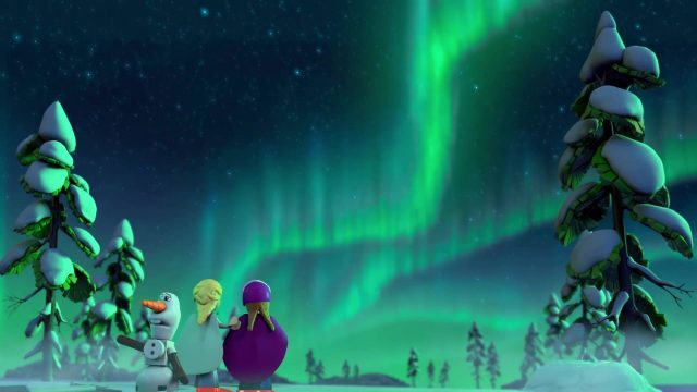 image reine neiges magie aurores boréales frozen northern lights disney